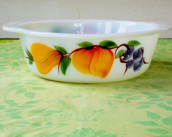 """Fire King, Pyrex  """"Gay Fad"""" milk glass Dish with hand painted peaches, pears and grapes -2 sided"""