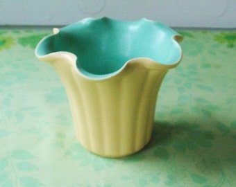 Pale yellow and robin's egg blue, vintage Vase or Planter with Ruffled Edge