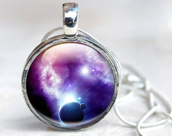 Galaxy Necklace, Silver Galaxy Necklace, Glass Necklace Galaxy Photo (galaxy 9)