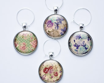 Wine Glass charms - 4 Flower wine glass charms - Wine Glass Tags - gift for her (FWGC1)