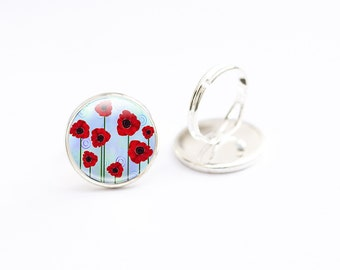 Poppy Ring - Glass Poppy Jewelry - Glass Photo Ring - Red Poppy Jewelry (poppy 5)