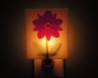 Fused Glass Red Flower Night Light
