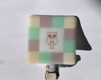 Girls Fused Glass Nursery Owl Night Light