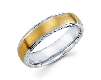 14k Two Tone White and Yellow Gold Wedding band