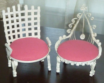 Exceptional Vintage Folky Tramp Art Soda Can Doll Furniture Set Of 2 Ornate Chairs  Dollhouse Furniture