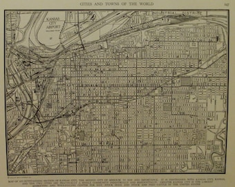 Kansas City Map Kansas City Missouri Map Vintage City Map Usa City Map
