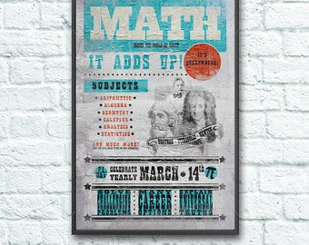 Vintage Inspired Math Classroom Decoration Poster Ad