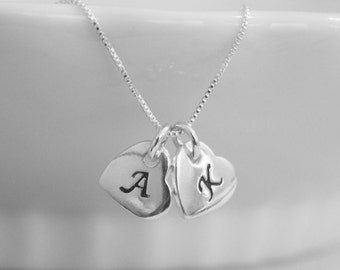 Double Heart Initial Necklace, Double Heart Initial Charm on Sterling Silver Chain