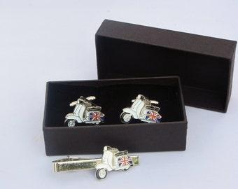 Lambretta Scooter Cufflinks & Tie Clip Set-Gift Boxed MOD