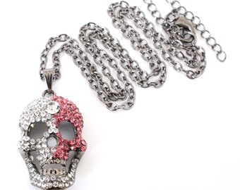 Skull necklace pink and crystal necklace