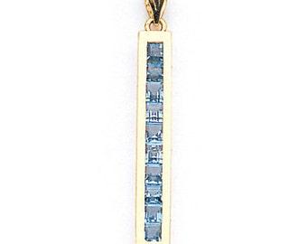 14K Yellow Gold Blue Topaz Pendant, Blue Topaz Pendant, Blue Topaz Jewelry, Gold Pendant, Fancy Jewelry, Gold Jewelry, Blue Topaz