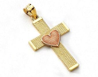 14K Two-Tone Gold Heart Cross Pendant, Heart Pendant, Cross Pendant, Cross Jewelry, Heart Jewelry, Religious Jewelry, Gold Cross, Gold Heart