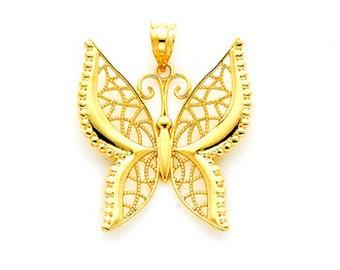 14k gold butterfly pendant. butterfly charm.