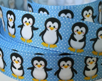 "1"" Penguin Print Grosgrain Ribbon"