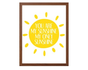 You Are My Sunshine Poster : Nursery Modern Illustration Witches and Wizards Retro Art Wall Decor Digital Print 8 x 10