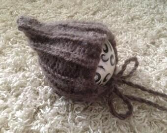 Newborn knit pixie style bonnet