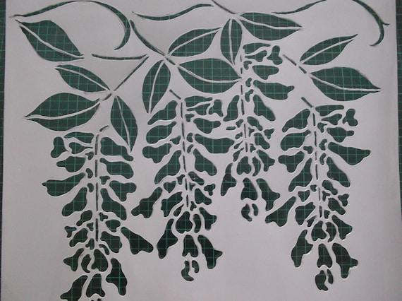 Articoli simili a wisteria blossom stencil reusable and - Stencil cucina da stampare ...