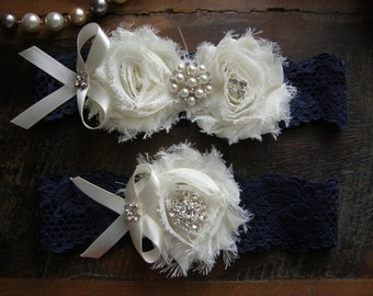 Something Blue / Wedding Garters / Garter / Ivory / Navy Blue / Bridal Garter / Toss Garter / Vintage Inspired / Garter Set