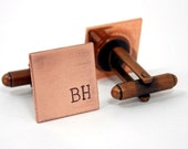 Gift for dad, custom cufflinks, handstamped, Fathers day gift under 25, copper cufflinks, custom initials