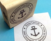 Nautical Anchor Heart Custom Address Rubber Stamp, Personalized return address custom stamp