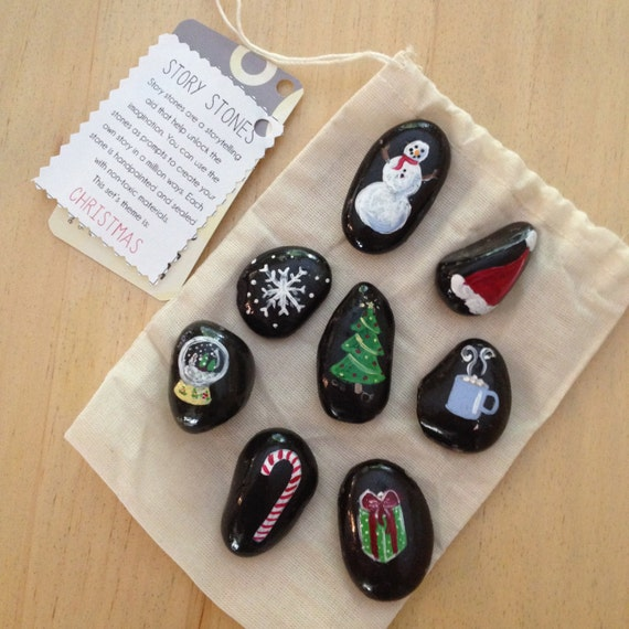 Story Stones Christmas Storytelling Aid Hand Painted Stones