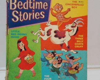 Vintage Bedtime Stories Illustrated Childrens Book 1972, Collectible Retro Ephemera, Creepy Kids, MCM Kitsch