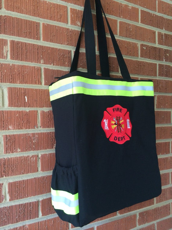 firefighter diaper bag custom name black. Black Bedroom Furniture Sets. Home Design Ideas