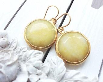 Yellow Earrings - Colorful Earrings - Gold earrings - Sunshine yellow - Statement earrings - Spring Jewelry Vibrant Bold