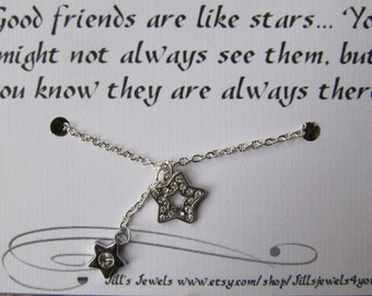 Best Friend  Necklace - Long Distance Freindship Necklace - Best Friend Gift - Rhinestone Star Necklace - Friends Forever - Gradation Gift
