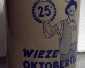 Belgian pottery beer stein mug, vintage collectable Wieze Oktoberfeesten Belgium