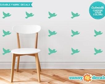 Birds Fabric Wall Decals  - Set of 16 Birds  - Custom Options Available - Modern Bird Silhouette Wall Decor -  Reusable, Repositionable