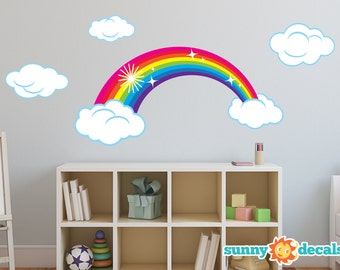 Rainbow Fabric Wall Decal, Sparkling Rainbow Wall Decor with Clouds, Repositionable, Reusable, Two Color Options - Bright and Pastel Rainbow