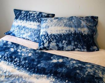 hand dyed indigo shibori bedding duvet cover set