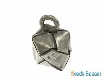 Karen Hill Tribe silver Weaving Cube Charm, 15mm