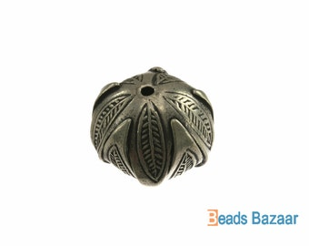 Karen Hill Tribe silver Tribal Budding Leaf Bead, 14 mm ( 3 pieces )