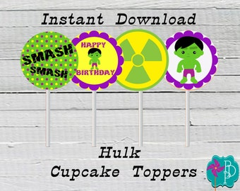 Hulk  Birthday Cupcake Printable- instant download