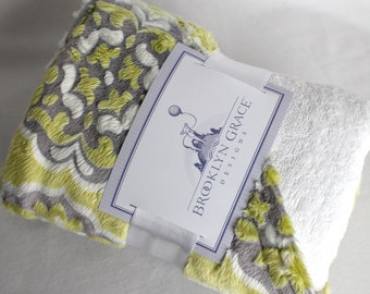 Infant - Baby Hooded Towel, Yellow and Gray, 100% Cotton Terrycloth, Lemon, Medallion, Barcelona Print