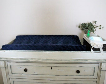 Contoured Minky Changing Pad Cover - Solid Embossed Chevron in Navy, Nautical