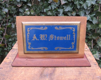Antique Brass Name Plate - Desk Top Name Plate