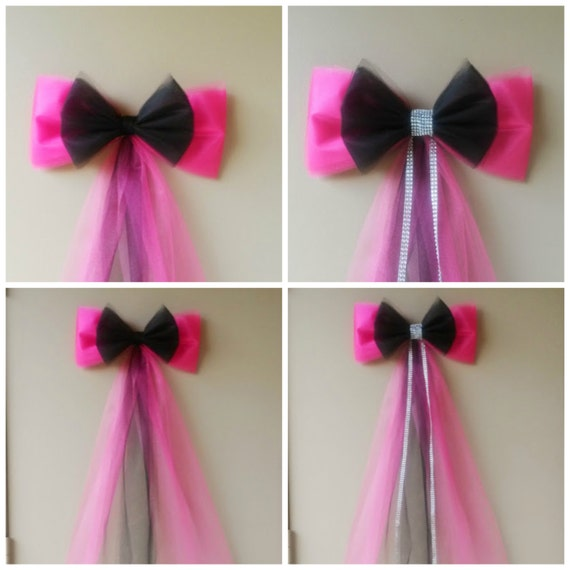Pink and Black Birthday Party Decoration Sweet 16 Bow Quinceanera