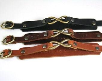2xCouple Bracelet, Matching Bracelet, Leather Bracelet, His and Hers Bracelet, Infinity Bracelet, Love Bracelet, Charm Bracelet