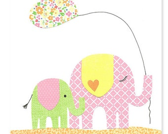 Nursery Art Print, Elephant Nursery Art, Pink Green Yellow Orange, Children's Decor, Playroom Art, Kid's Decor, Baby Girl Nursery, Toddler