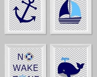 Nautical Nursery Prints, No Wake Zone, Sailboat, Whale, Anchor, Gray Navy Blue, Ocean Nursery Art, Nautical Decor, Baby Shower Gift, Canvas