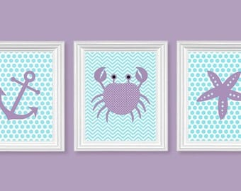 Purple and Aqua Nursery Art Nautical Nursery Chevron Ocean Decor Sailboat Crab Anchor Lavender Polka Dots Girls Room Decor
