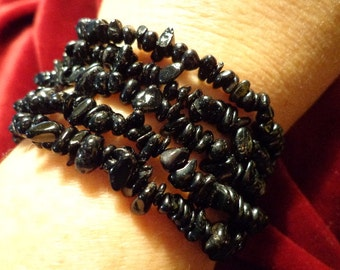 Wholesale lot of 5 stretchy black tourmaline chip bracelet with positive energy