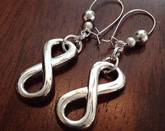 Earrings, Christian Earrings, Silver Charm Earrings, Cowgirl Earrings, Silver Dangle Earrings, Christian Earrings, Infinity Charm Earrings