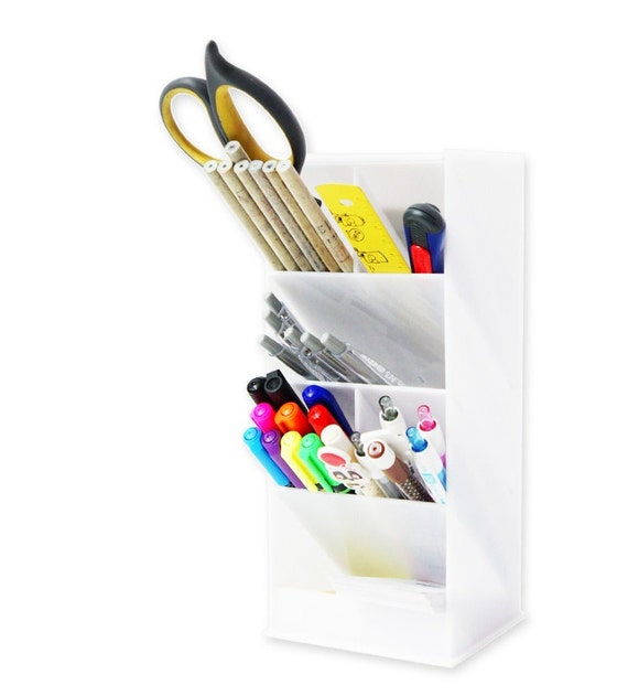 Items similar to white acrylic desk organizer pen case - Acrylic desk organizer set ...