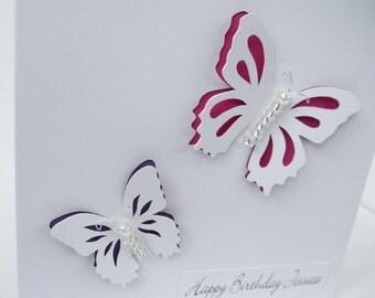 Butterfly Birthday Card - Beautiful Paper Cut Butterflies - Personalised Card - Handmade Greeting Card - Daughter - Girlfriend - Girl - Wife