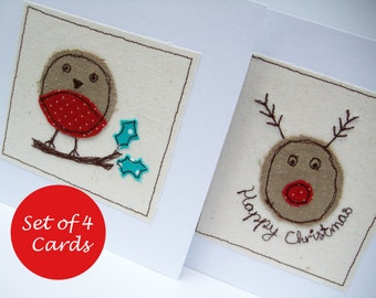 Christmas Card Set of 4 Cards - 2 Robin and 2 Rudolph the Red Nosed Reindeer Cards - Machine Embroidered Pack of 4 Christmas Cards