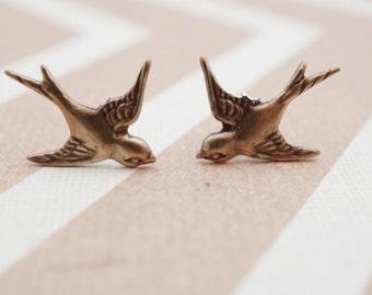 Stud Earrings, Brass Swallow post earrings: No E386
